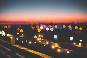 Evening Christmas Lights Over City