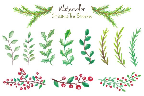 Watercolor branches for Christmas 2