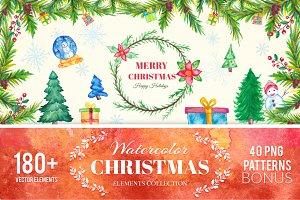 180+ Christmas Watercolor Elements