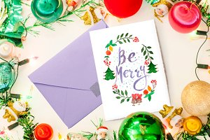 Merry christmas watercolor card