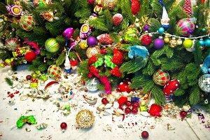 Christmas tree and broken decoration
