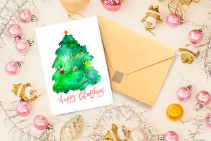 Christmas watercolor lettering card