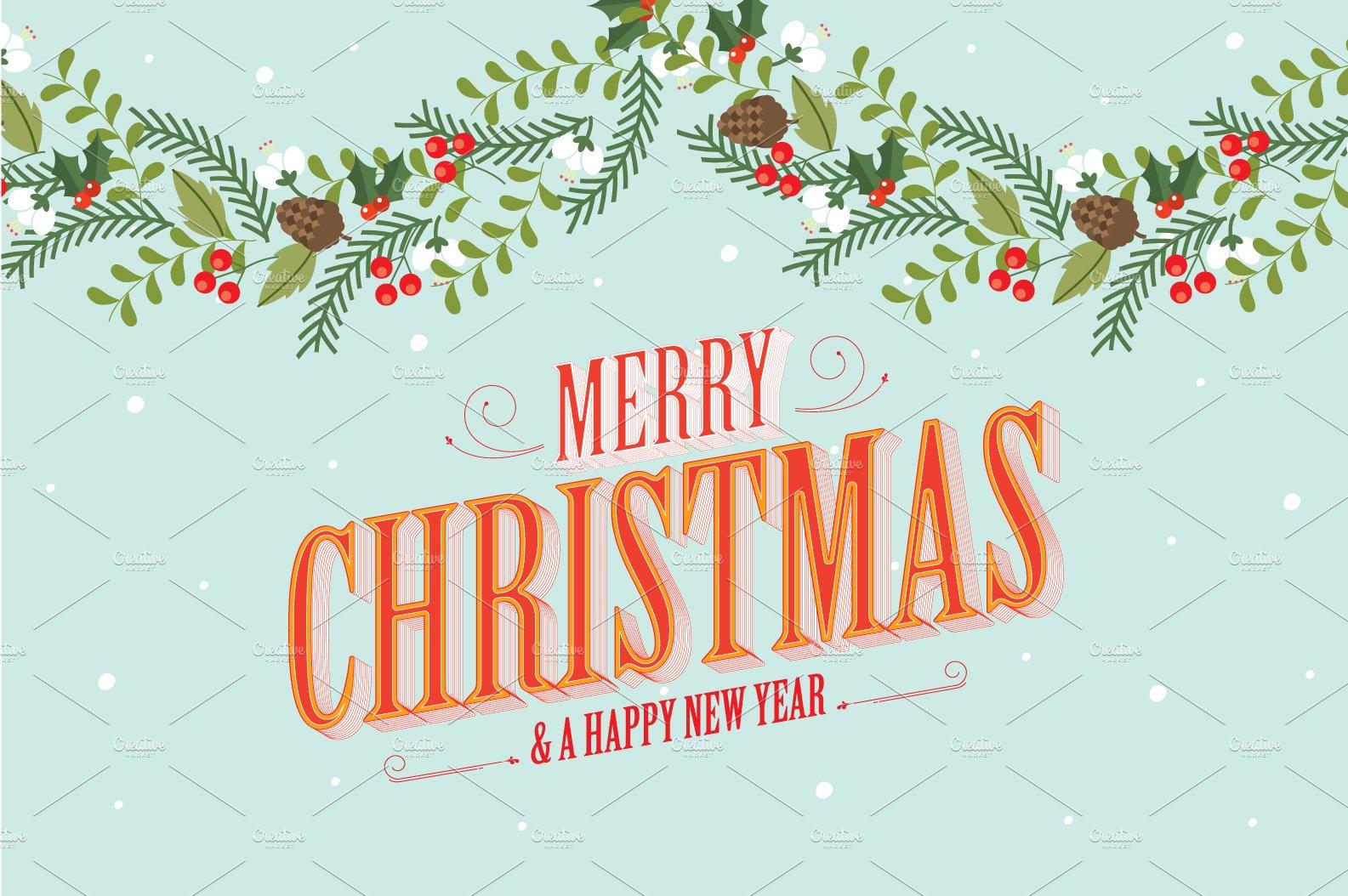 christmas garland template vector ~ Illustrations ~ Creative Market