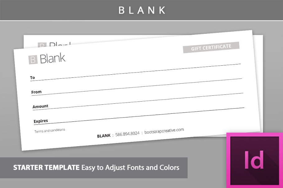 Blank Gift Certificate Id Template Stationery Templates