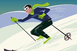 mountain skier slides