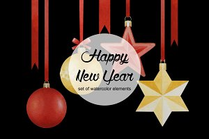 New Year watercolor elements