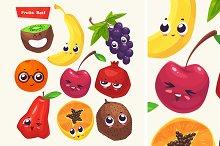 Set of funny cute fruits.