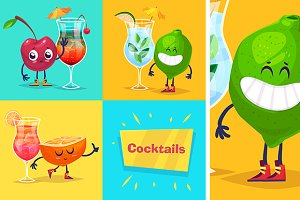 Cute fruits and cocktails for party