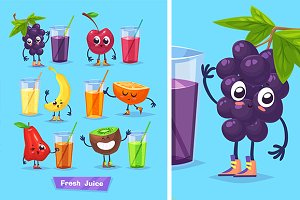 Cute fruits and fresh juice (set1)