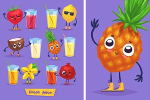 Cute fruits and fresh juice (set2)