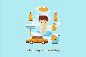 Cleaning and washing car. Flat style