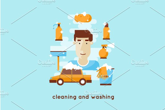 Cleaning and washing car. Flat style - Illustrations