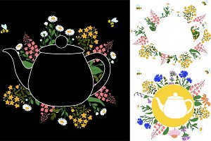 Herbs around the teapot