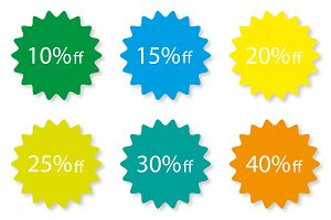 Percentage Off Sale labels different