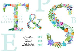Bright Floral Alphabet. EPS and PNG