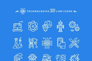 Technologies White and Black Icons