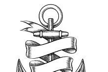Vector hand drawn anchor sketch
