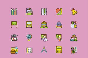 Colorful School Thin Lines Icons