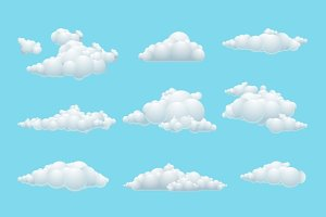 Vector cartoon cloud set