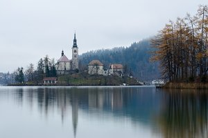 Mistic foggy morning in Bled