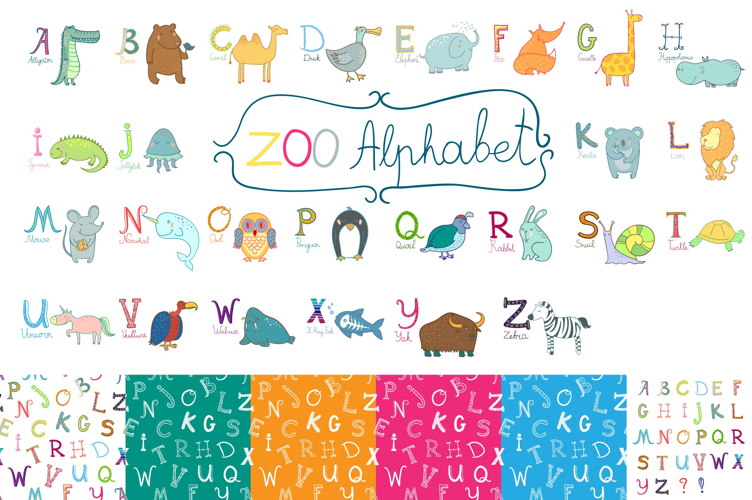 cute zoo alphabet for children's. ~ illustrations ~ creative market