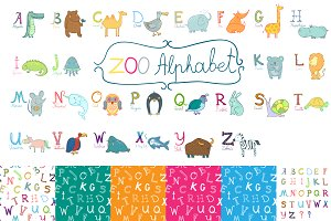Cute zoo alphabet for children's.