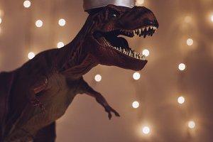 dinosaur with Santa Hat during Christmas