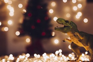 Dinosaur at Christmas