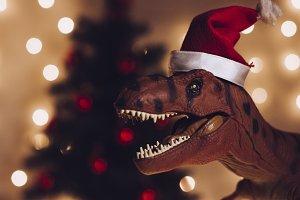 dinosaur with Santa Hat during Chris