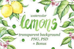 Watercolor Lemons Set