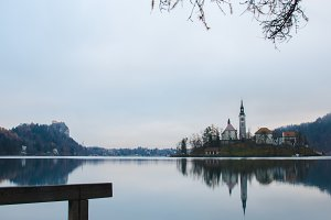 Lake Bled with the castle and island