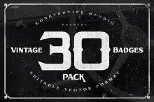30 Vintage Badges Pack