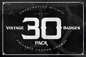 30 Vintage Badges Pack