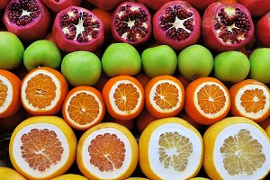 Set of fruits on the market from pom