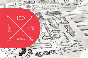 100 arrow set hand drawn