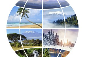 Globe design with photographs nature