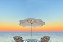 Travel concept. Beach and ship