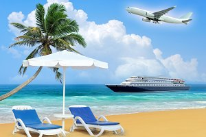 Travel concept. Beach and ship