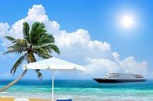 Beach chair, palm, ship and white um