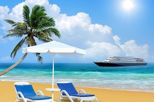 Beach chair, palm, ship and white um