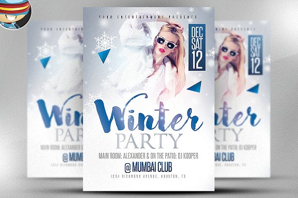 Winter Party Flyer Template Flyer Templates on Creative Market – Winter Flyer Template
