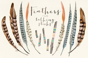 Watercolor feathers talking sticks