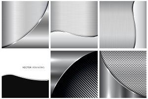 Collection of metallic backgrounds.