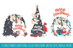 3 christmas greeting illustrations