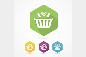 Shopping Basket Icon Set Flat.