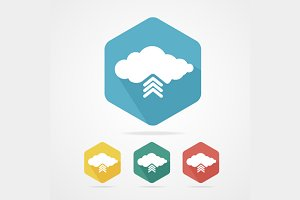 Upload from Cloud  Icon Set Flat.
