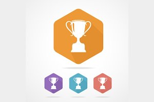 Prize Trophy Cup Icon Set Flat.