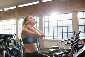 Woman tired after intense workout on