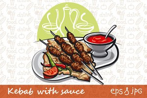 Kebab with Tomato Sauce