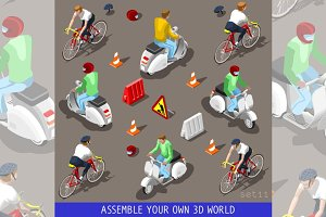 Flat 3d Vehicle Scooter Bicycle Set